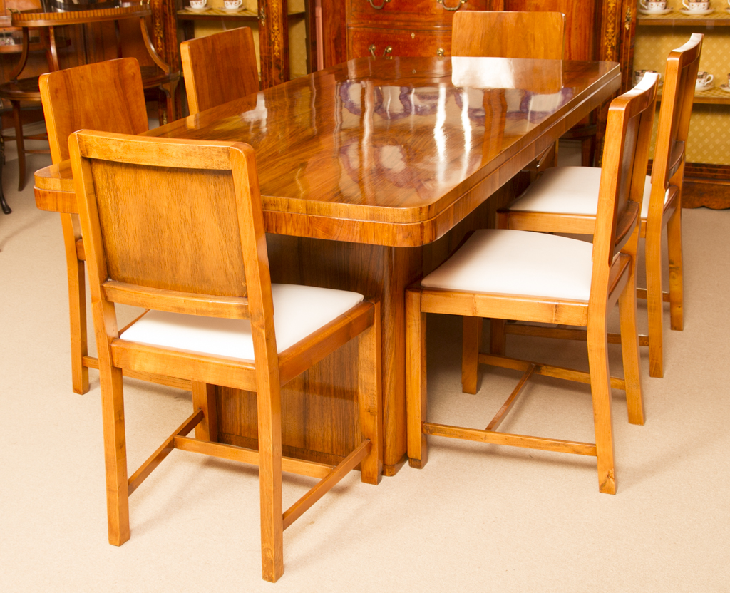Antique Art Deco Walnut Dining Table Chairs Ase