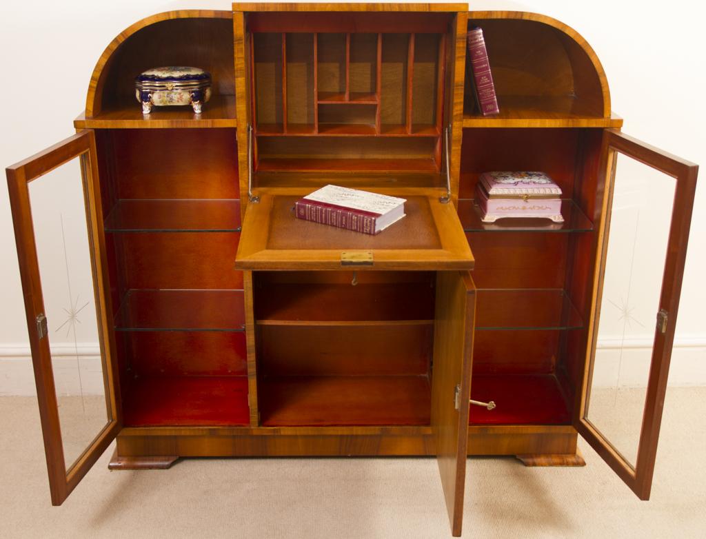 regent antiques cabinets antique art deco burr walnut secretaire cabinet. Black Bedroom Furniture Sets. Home Design Ideas