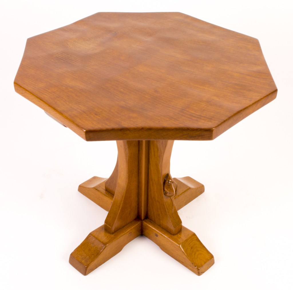 vintage robert mouseman thompson oak occasional table -