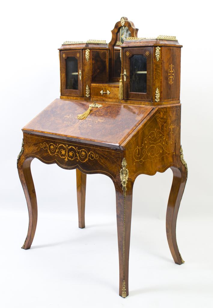 Antique Victorian Burr Walnut Bonheur Du Jour C 1860