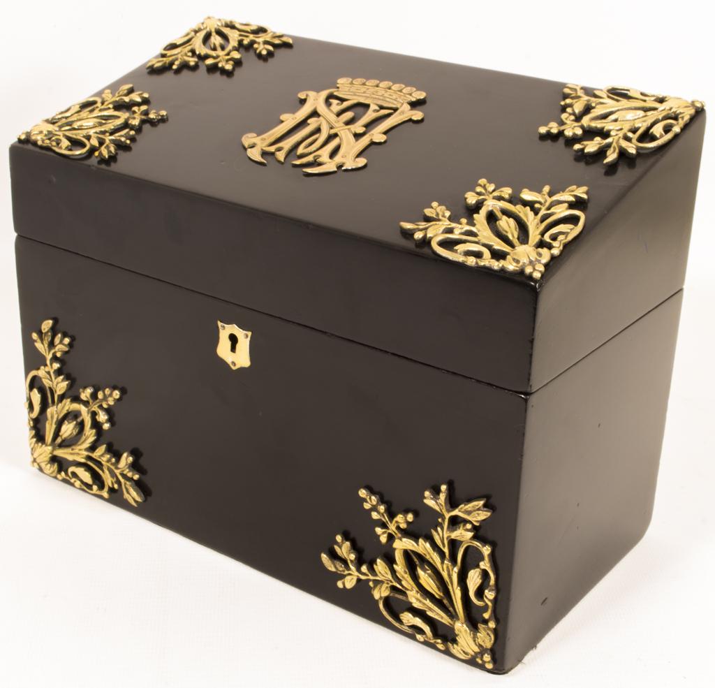 Antique ebonised brass stationery box c ref no