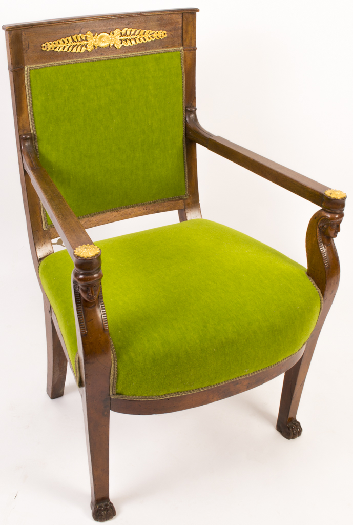 Reupholstered chair - 06155 Antique French Empire Style Mahogany Armchair C 1880 1