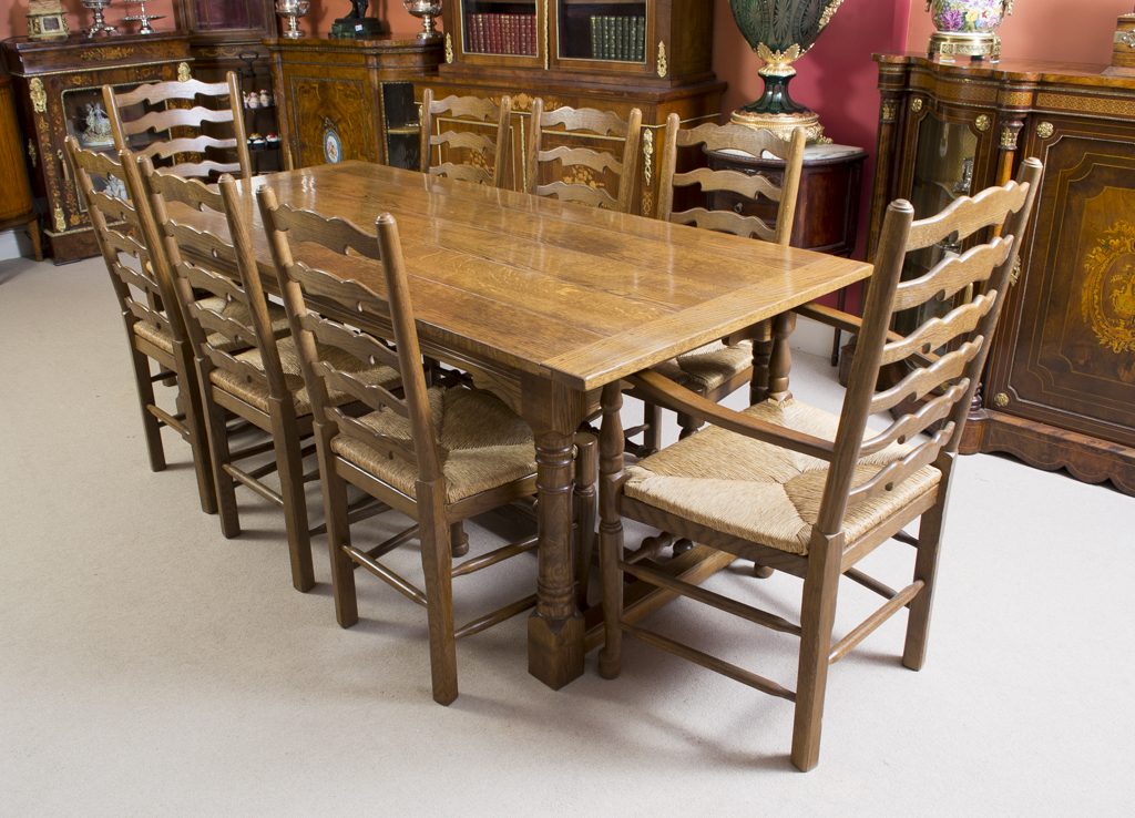 Vintage solid oak refectory dining table 8 chairs for Dining table and 8 chairs