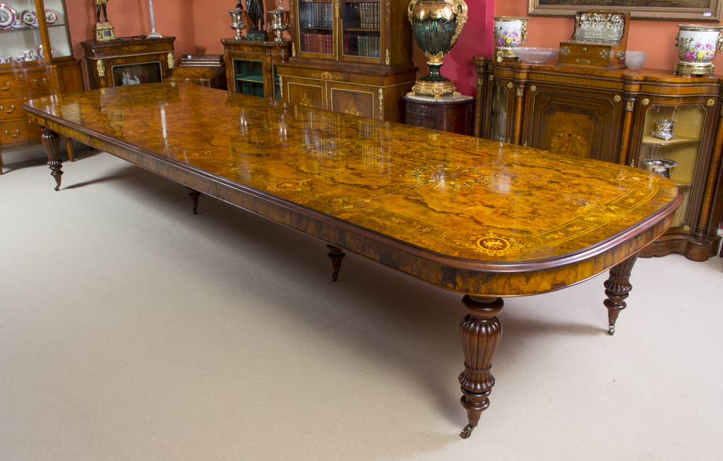 Huge 16ft6quotVictorian Marquetry Burr Walnut Dining Table : 06204 Huge 16ft6 Victorian Marquetry Burr Walnut Dining Table 1 from www.regentantiques.com size 1024 x 653 jpeg 621kB