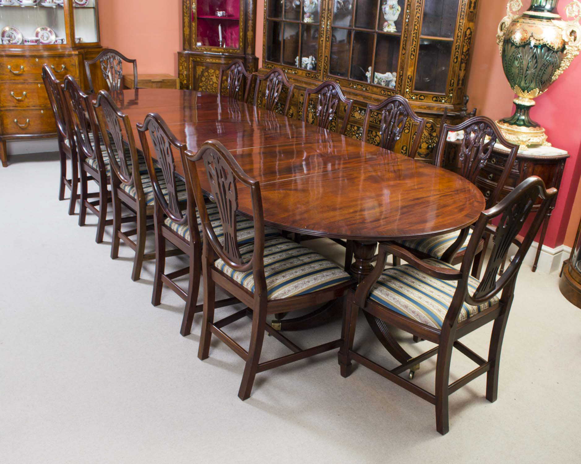 Antique Regency Dining Table 12 Chairs