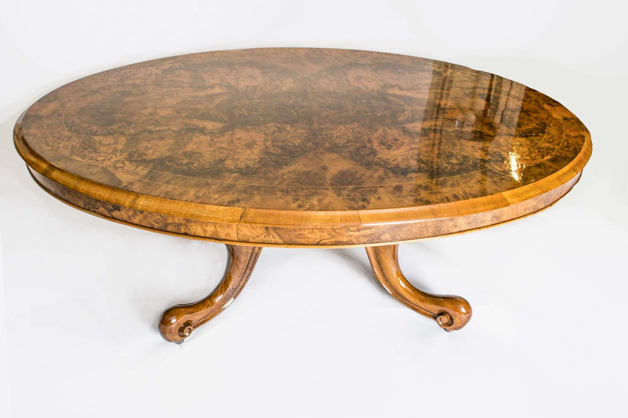 Antique Victorian Inlaid Burr Walnut Coffee Table c1860