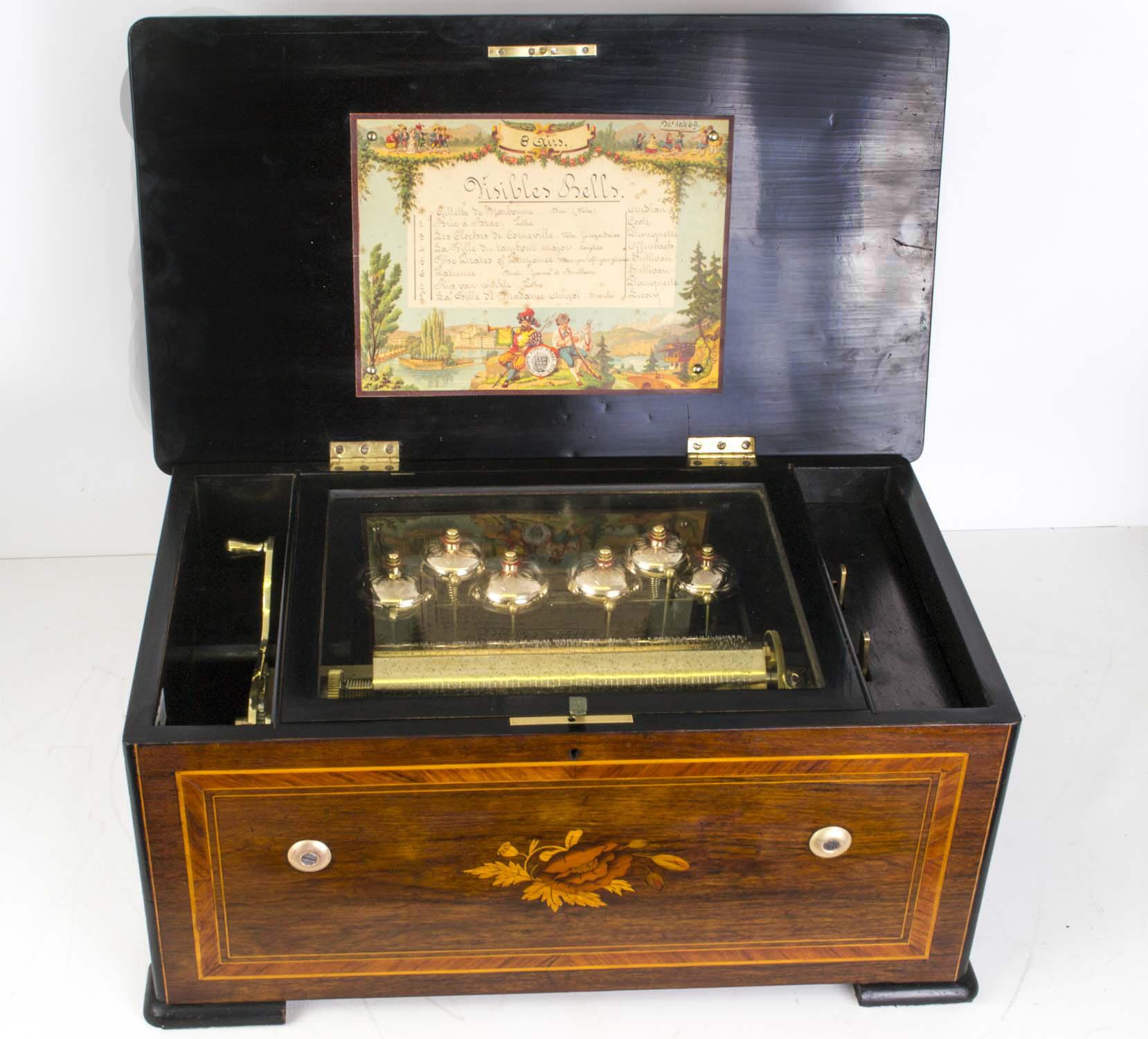 Regent Antiques Miscellaneous amp interesting Antique  : 06248 Antique Swiss 8 Air Rosewood Music Box 6 Bells c1890 1 from regentantiques.com size 1658 x 1500 jpeg 378kB