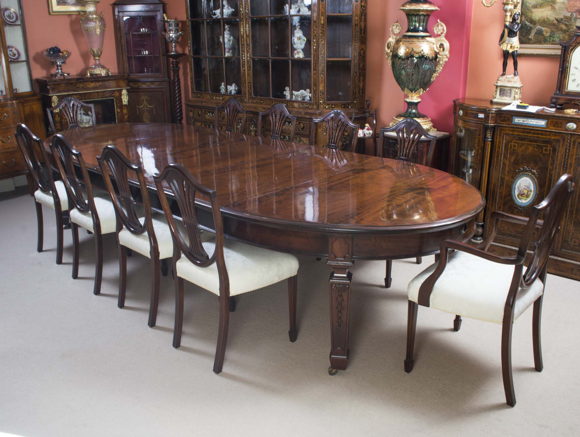 antique 12ft 6 edwardian dining table 10 chairs ref no 06253b regent antiques. Black Bedroom Furniture Sets. Home Design Ideas