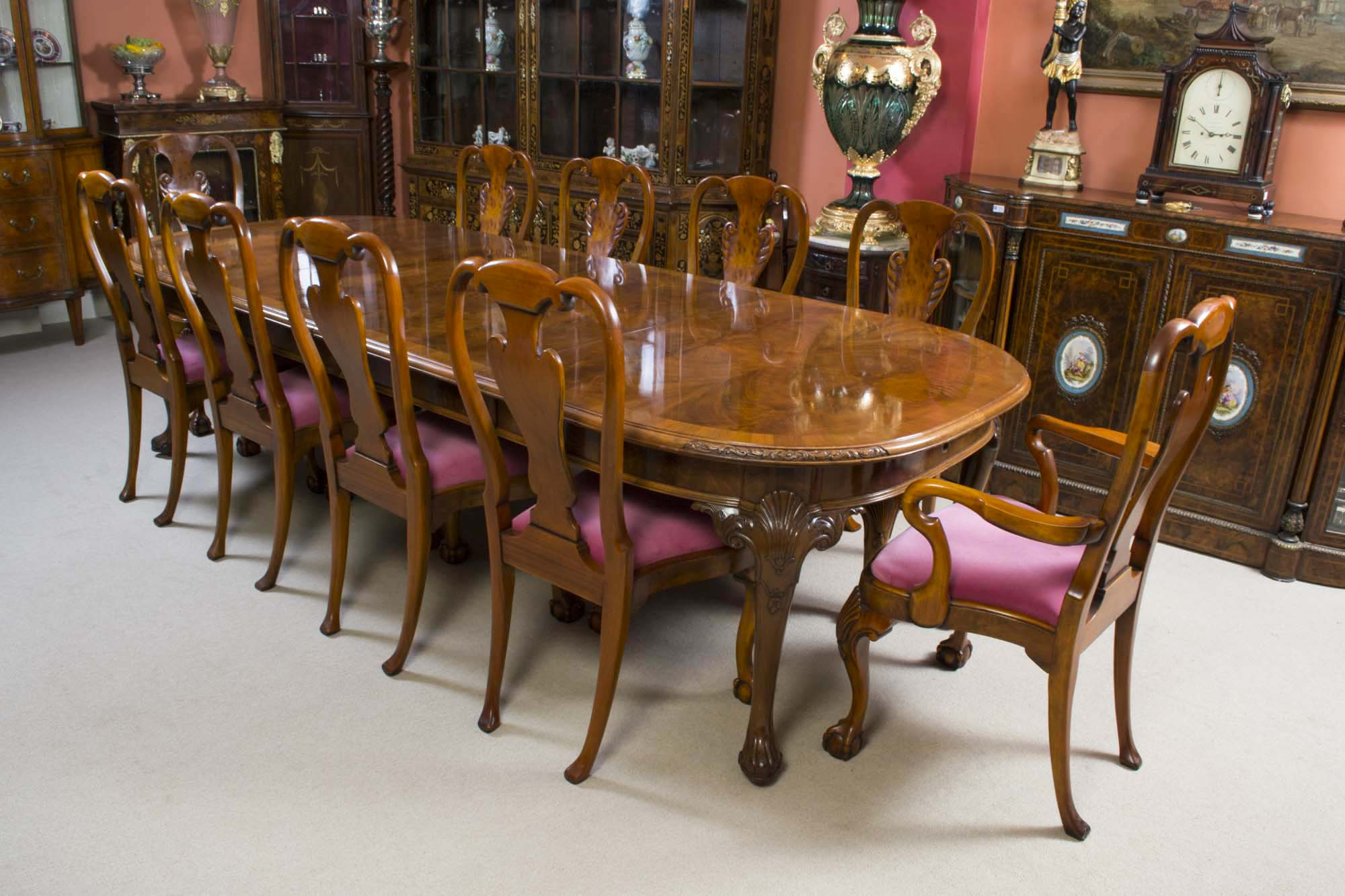 Antique Burr Walnut Queen Anne Dining Table 10 Chairs