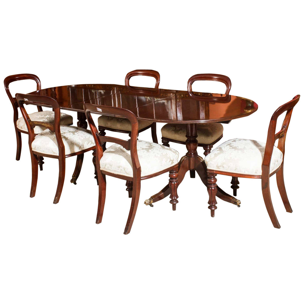Vintage regency style dining table 6 antique chairs for Dining table and six chairs