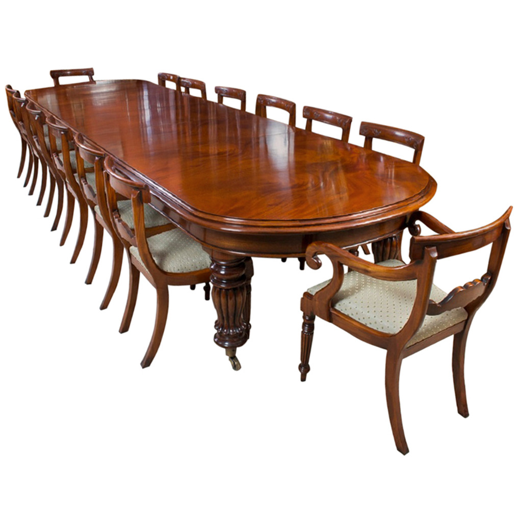 Vintage victorian mahogany dining table with 14 chairs for 12 chair dining table set