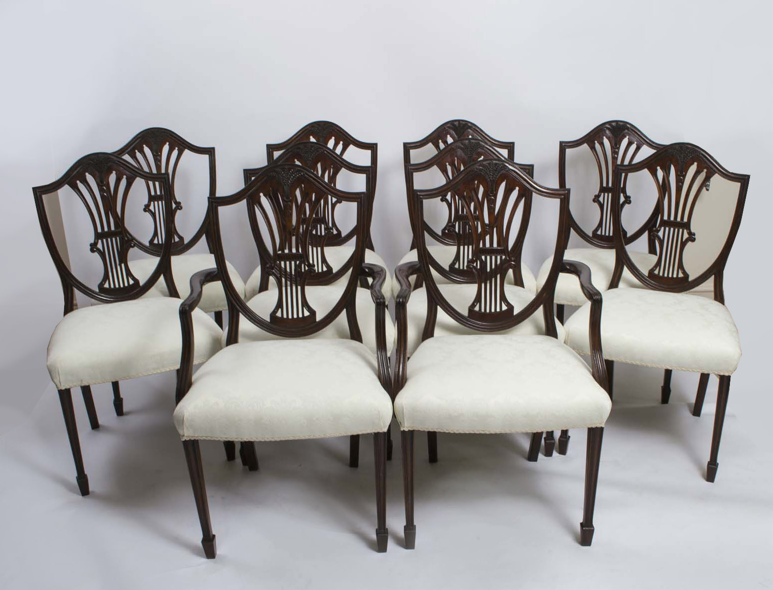 - Antique Set 10 Shieldback Mahogany Dining Chairs C.1900 Ref. No. 06285