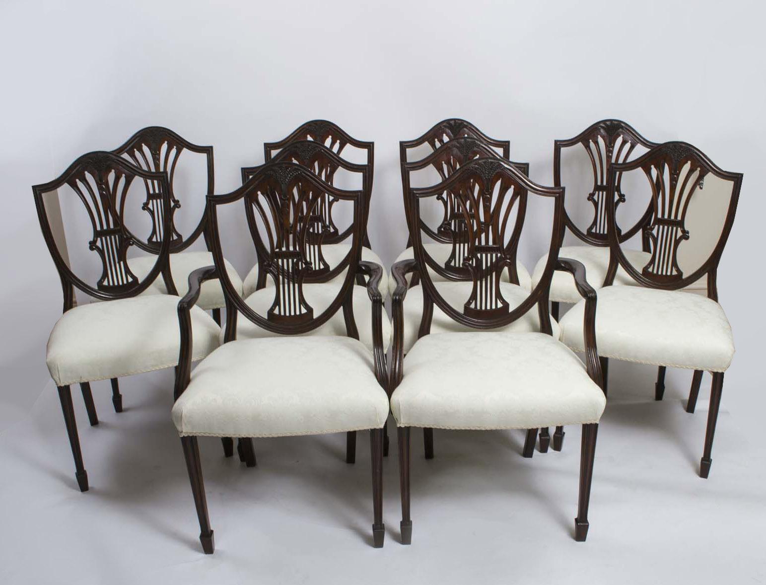 - Antique Set 10 Shieldback Mahogany Dining Chairs C.1900