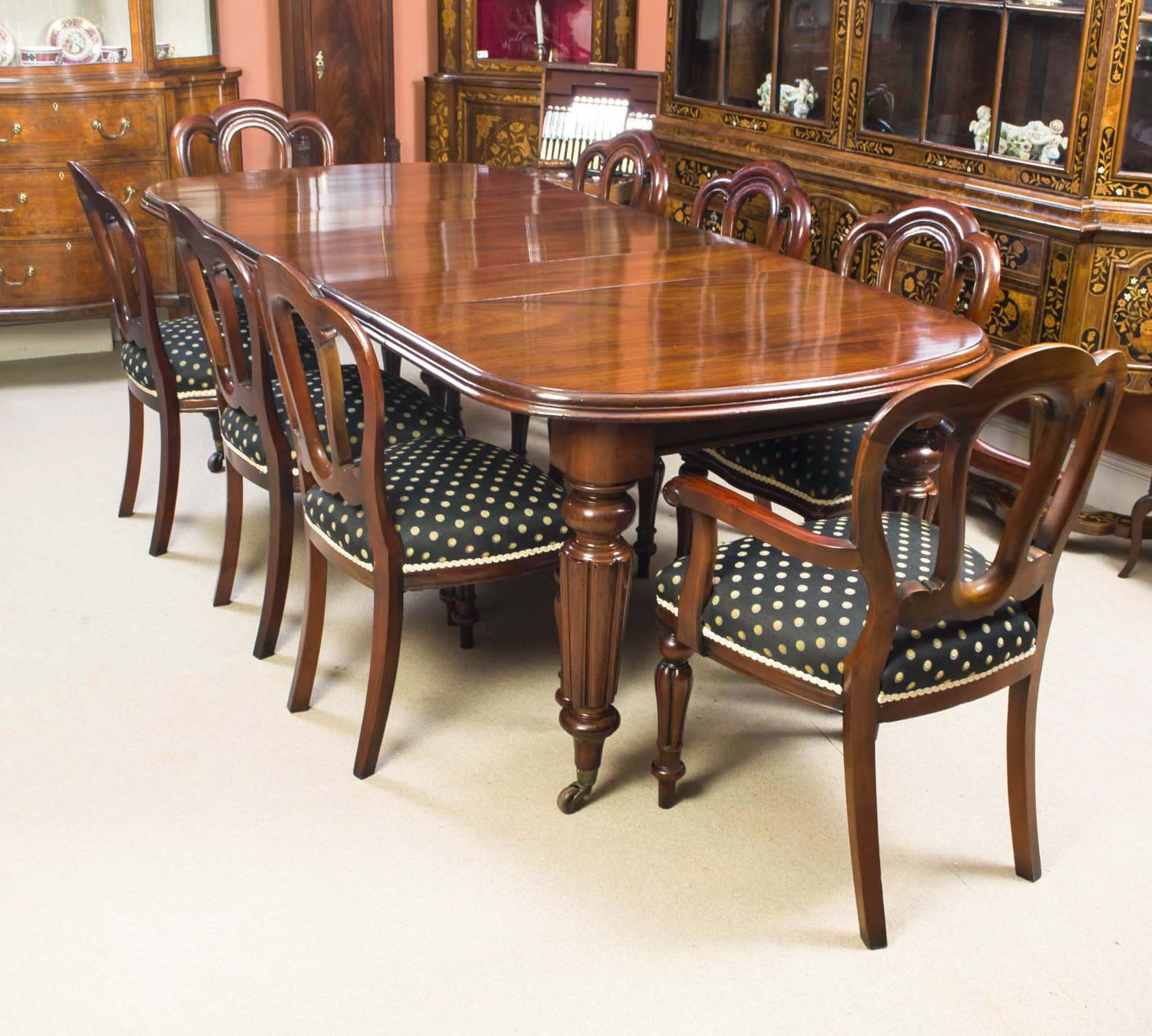 06314b Antique Victorian Mahogany Dining Table 8 Chairs C1870 1