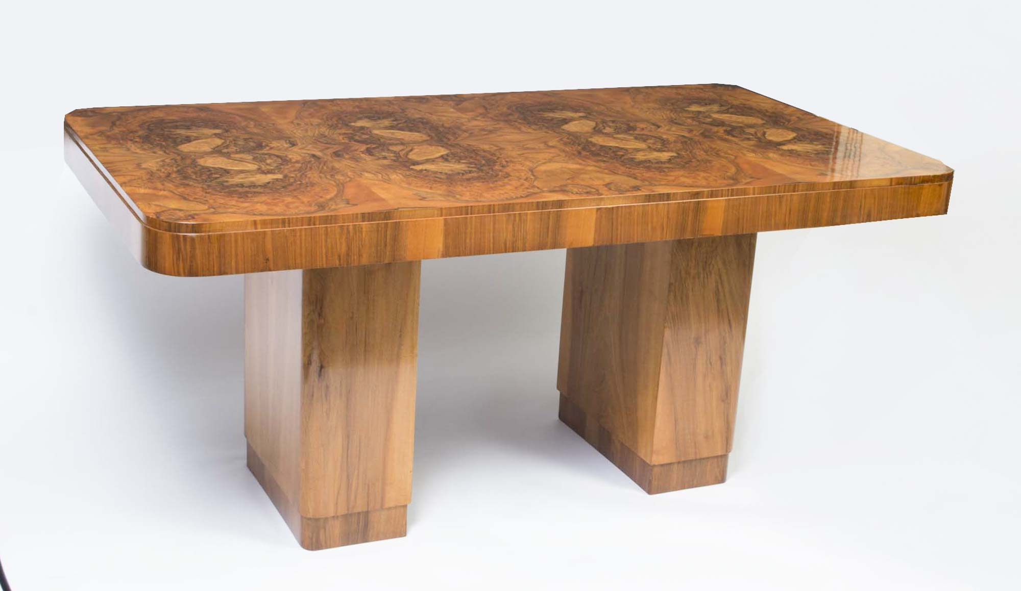 antique art deco burr walnut dining table. Black Bedroom Furniture Sets. Home Design Ideas