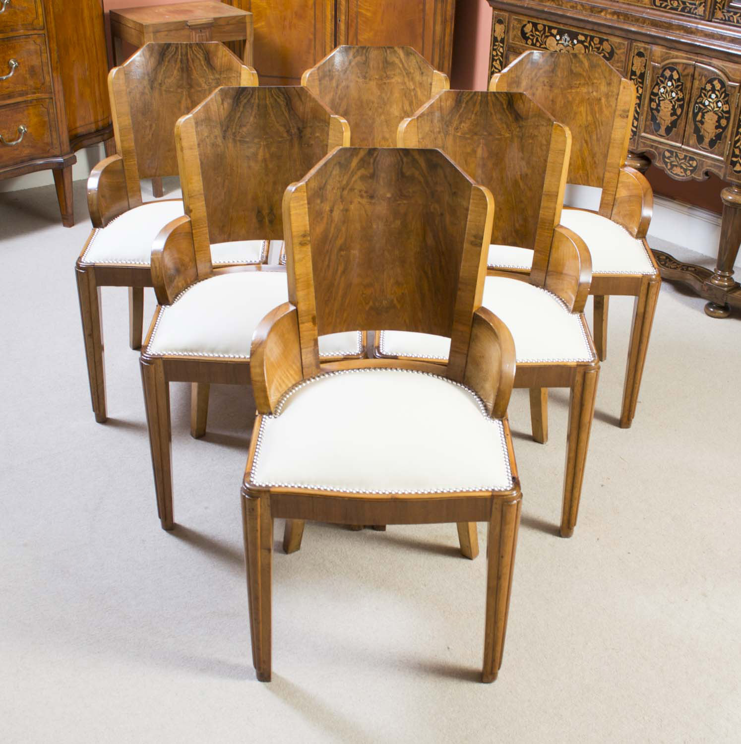 Antique 6 art deco burr walnut dining chairs ref for Art dining room furniture