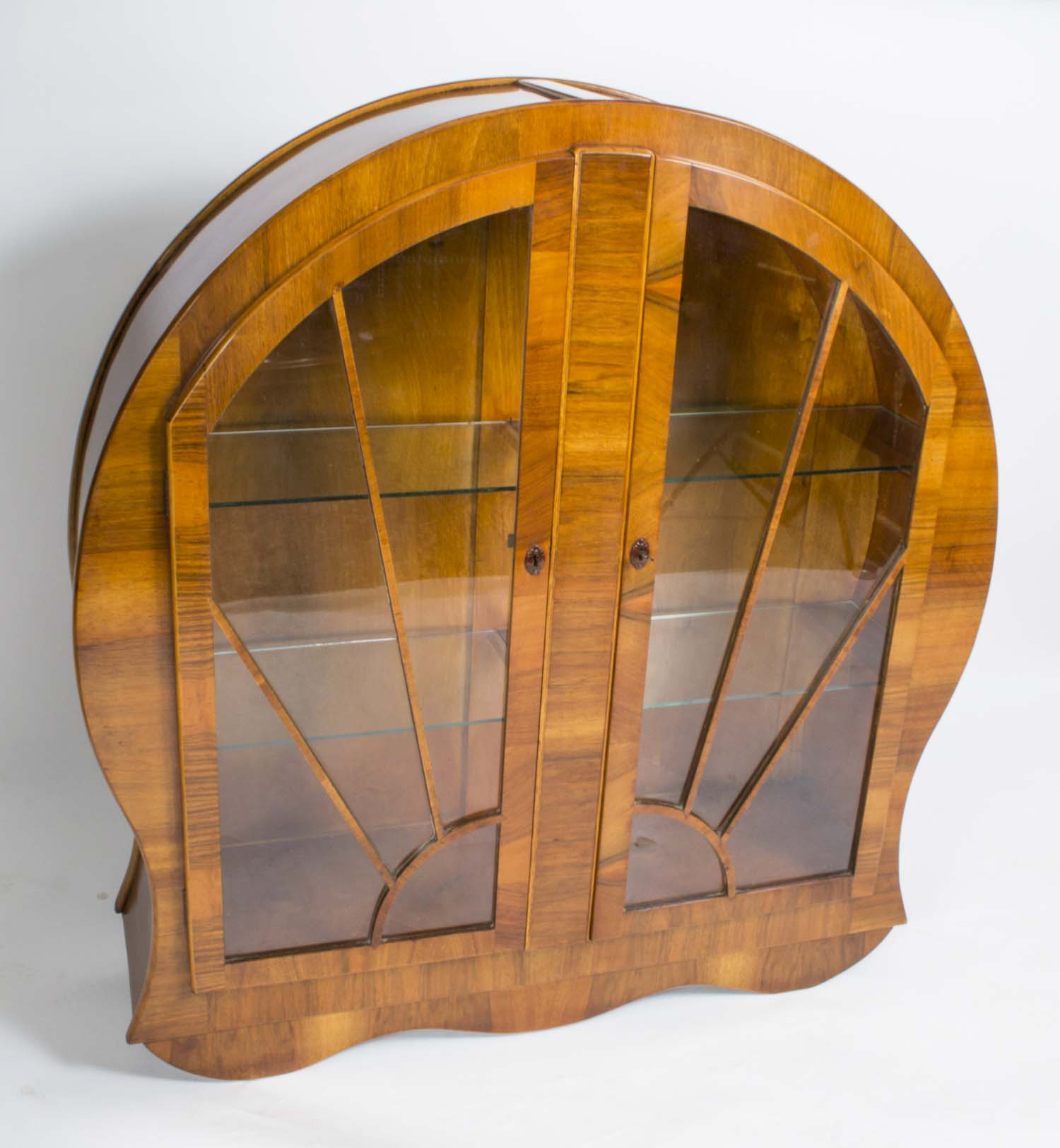 Antique Art Deco Burr Walnut Display Cabinet c.1920