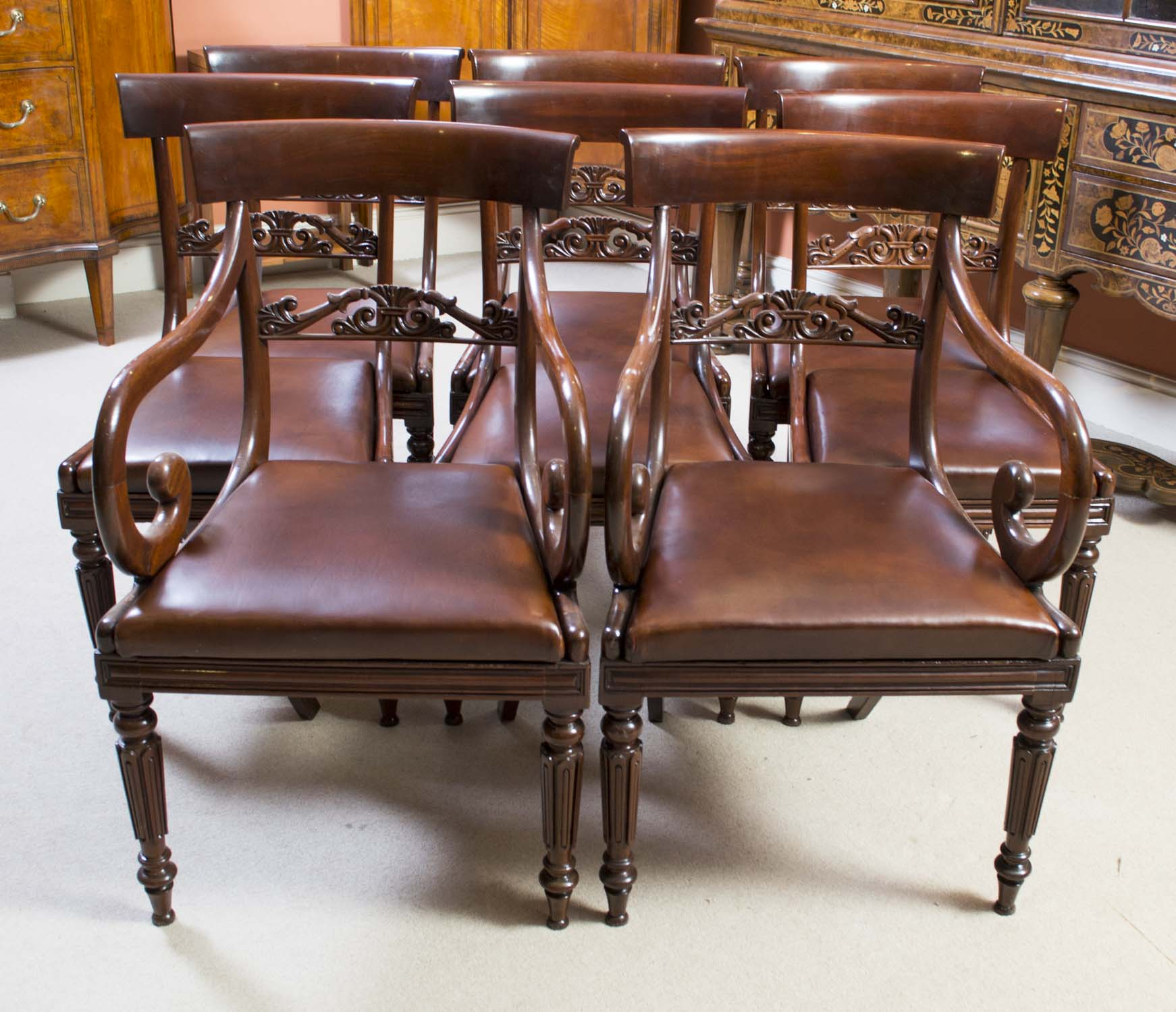 antique regency mahogany dining chairs set of 8. Black Bedroom Furniture Sets. Home Design Ideas