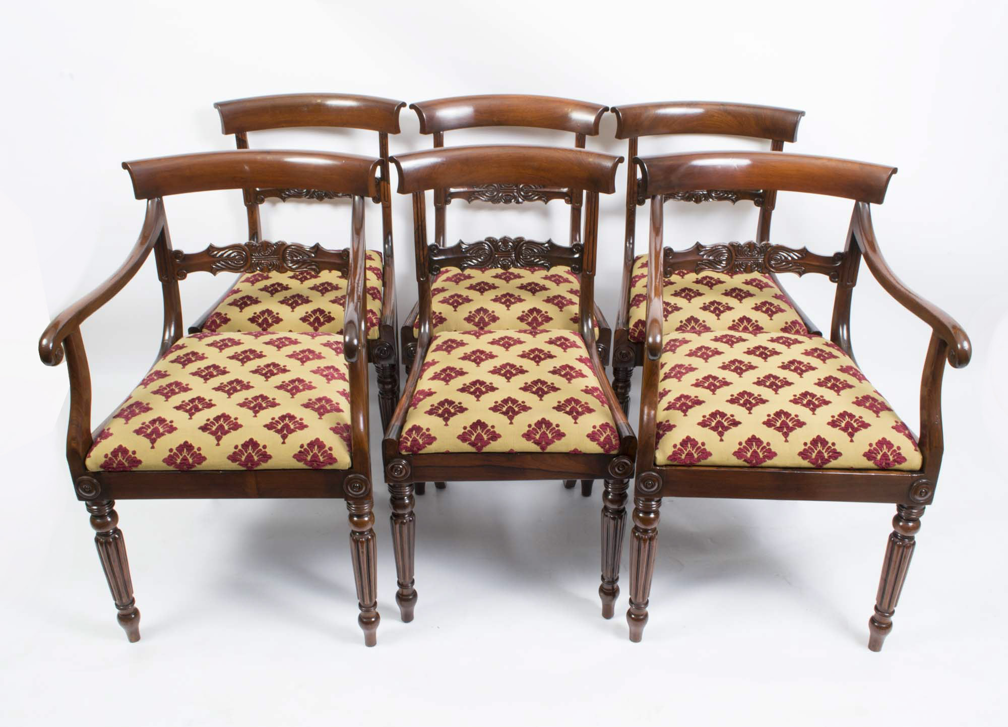 Antique Set 6 William IV Rosewood Dining Chairs c 1835