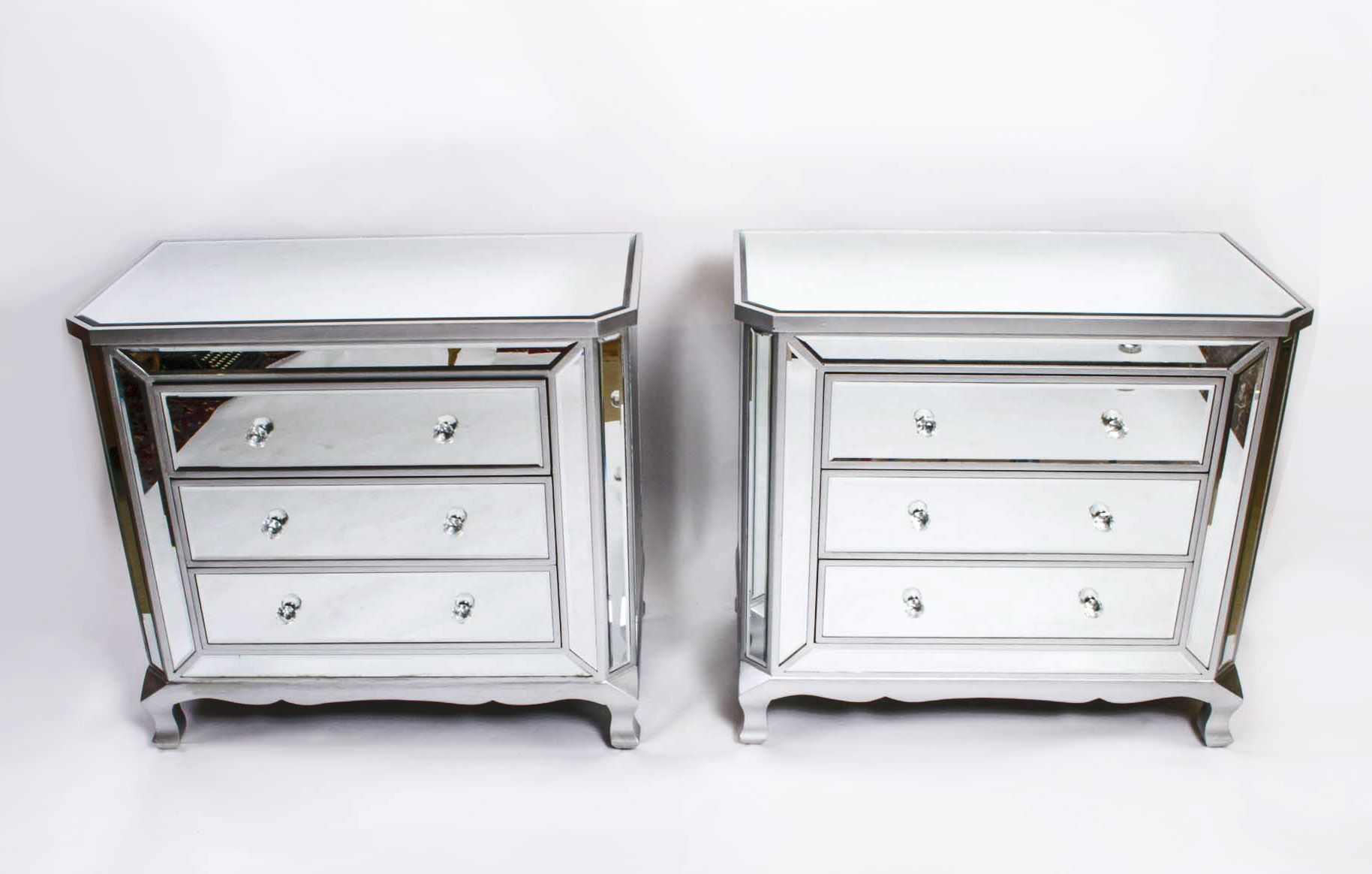 Fabulous Pair Art Deco Style Mirrored Chest Of Drawers