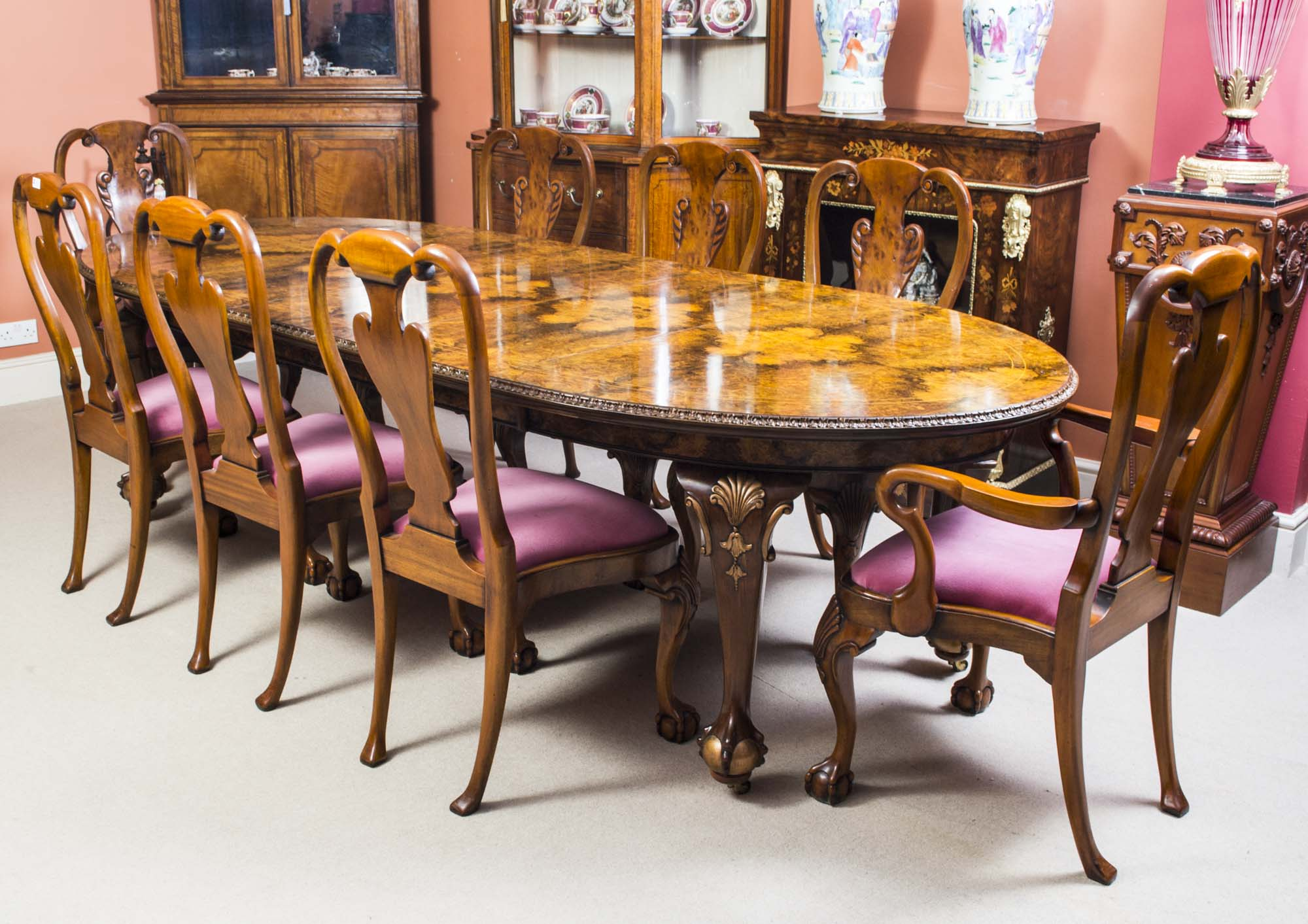 Bench Style Dining Table Sets ~ Antique queen anne style dining table chairs c