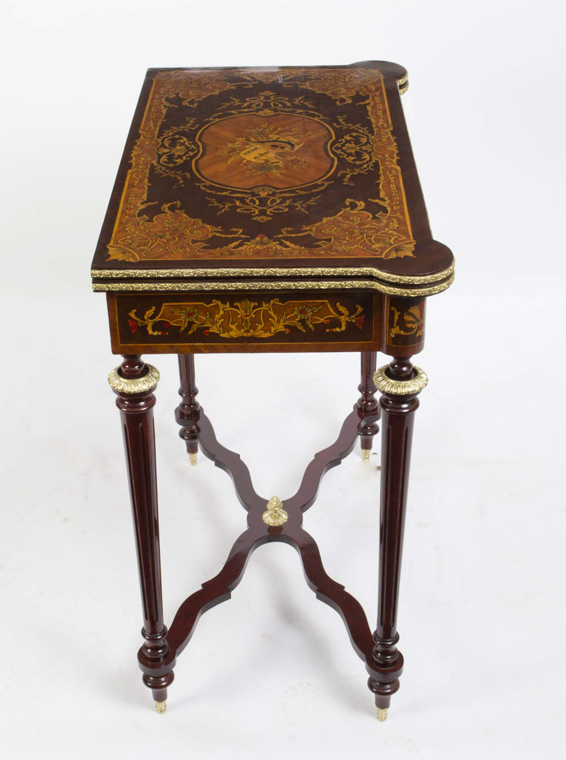regent antiques louis xv style rosewood marquetry card games table. Black Bedroom Furniture Sets. Home Design Ideas