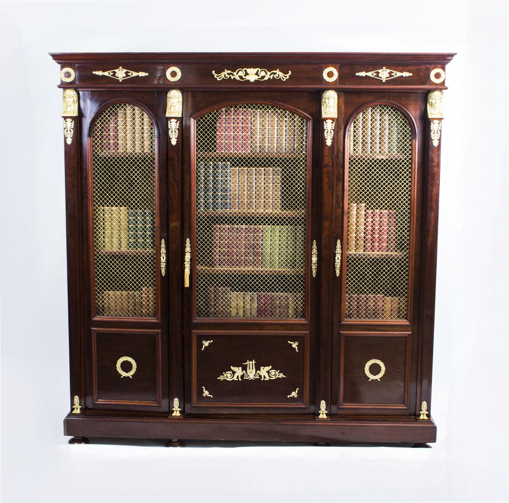 Antique French Empire Mahogany Bookcase Cabinet c.1840