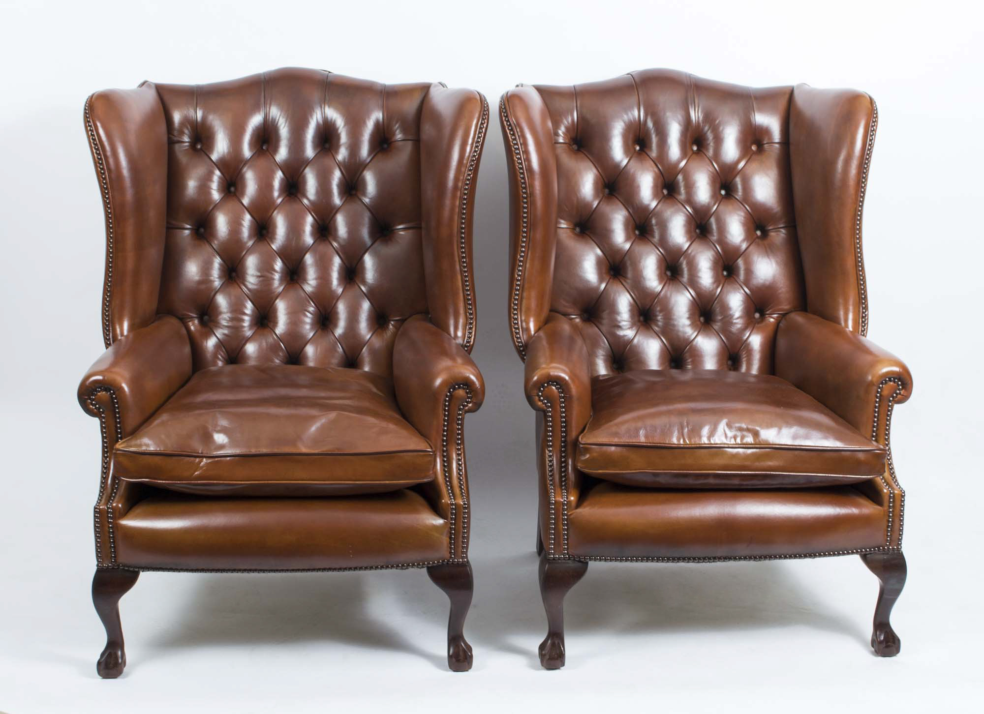 Pair Leather Ball Claw Wing Back Chairs Armchairs Tan