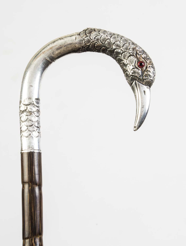 Regent Antiques Walking sticks and canes Antique  : 06594 Antique Silver Bird Handle Walking Stick Cane 1912 8 from regentantiques.com size 1136 x 1500 jpeg 93kB