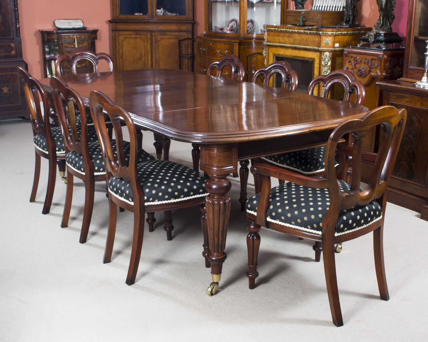 Antique Victorian Dining Table 8 Admiralty Back Chairs
