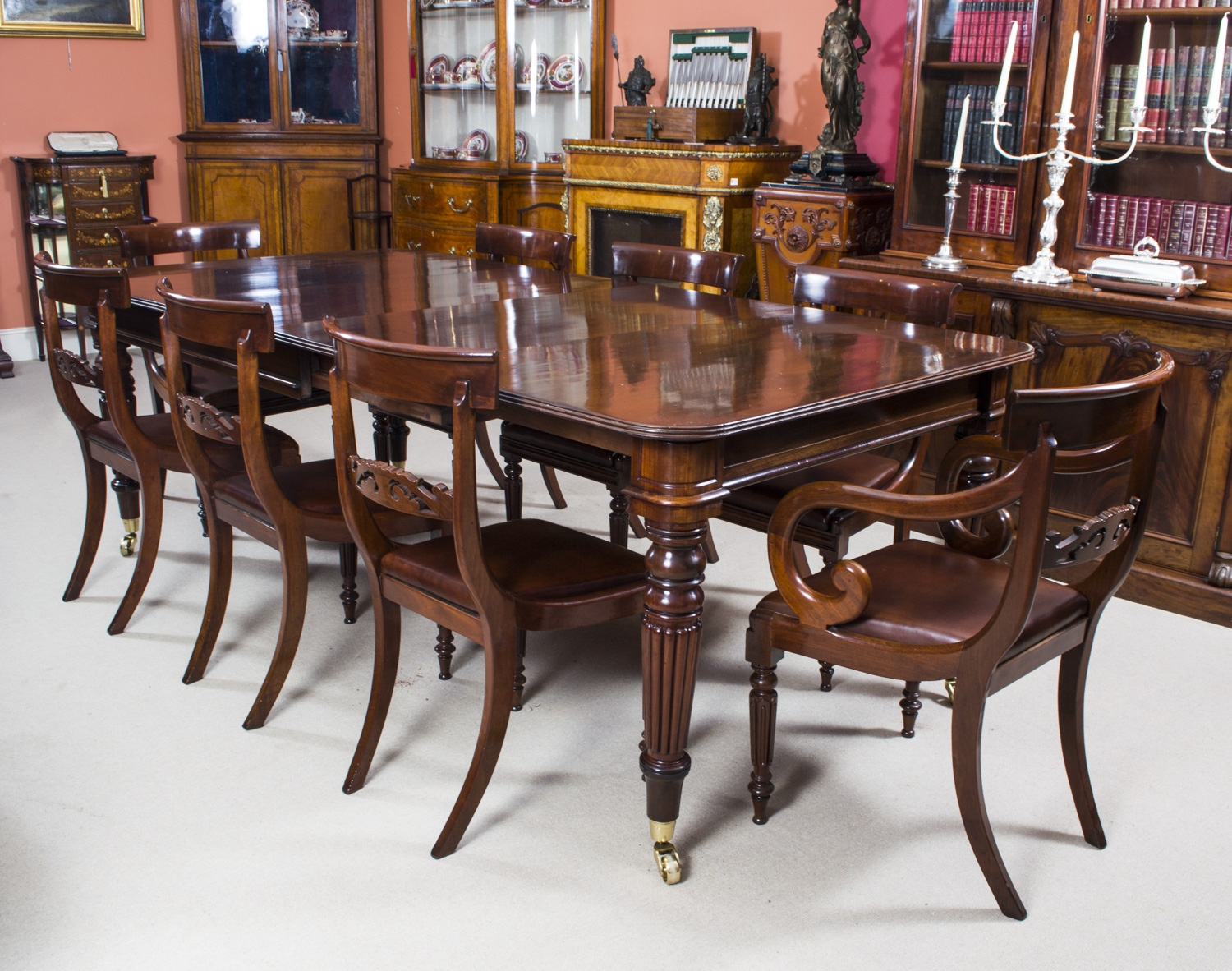 Antique regency mahogany dining table 8 regency chairs for Antique dining room tables