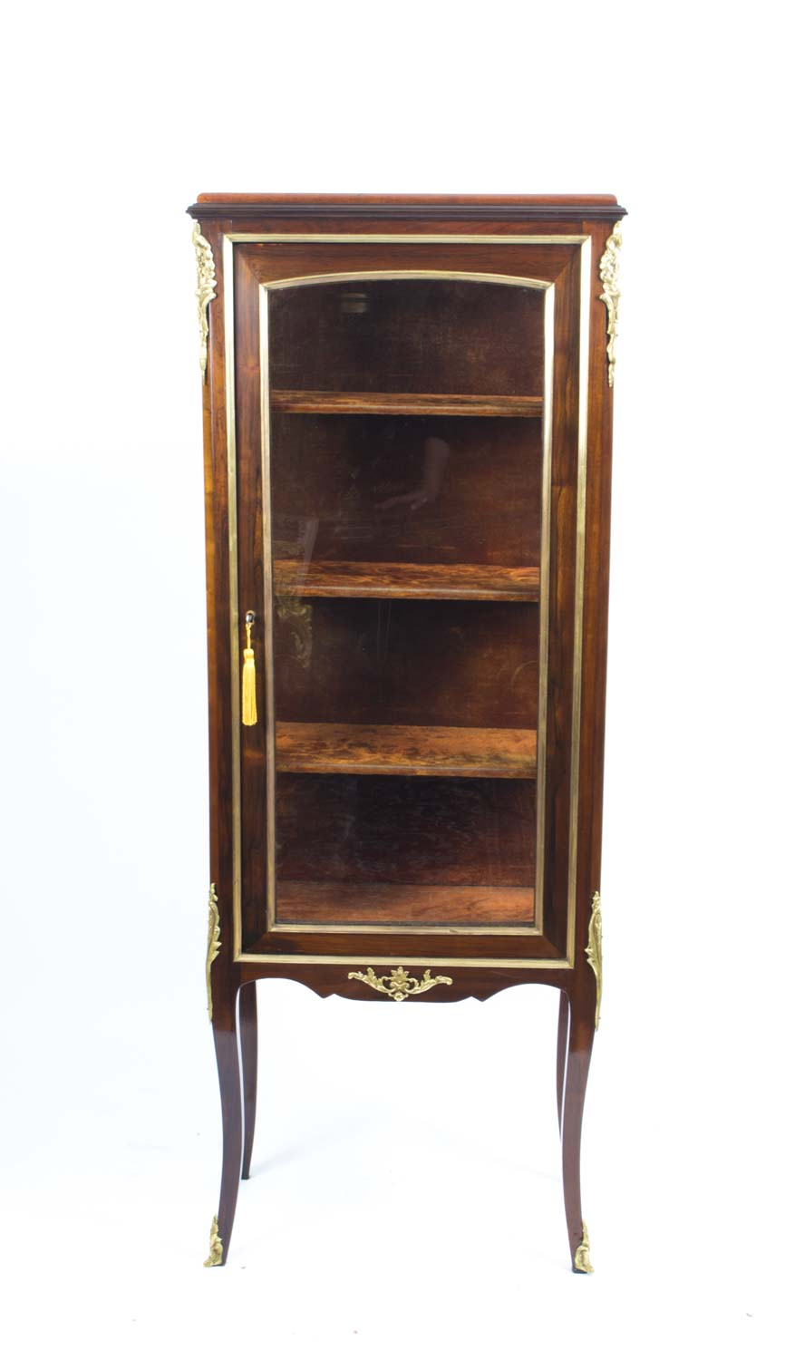 06648 antique french mahogany display cabinet for Antique display cabinet