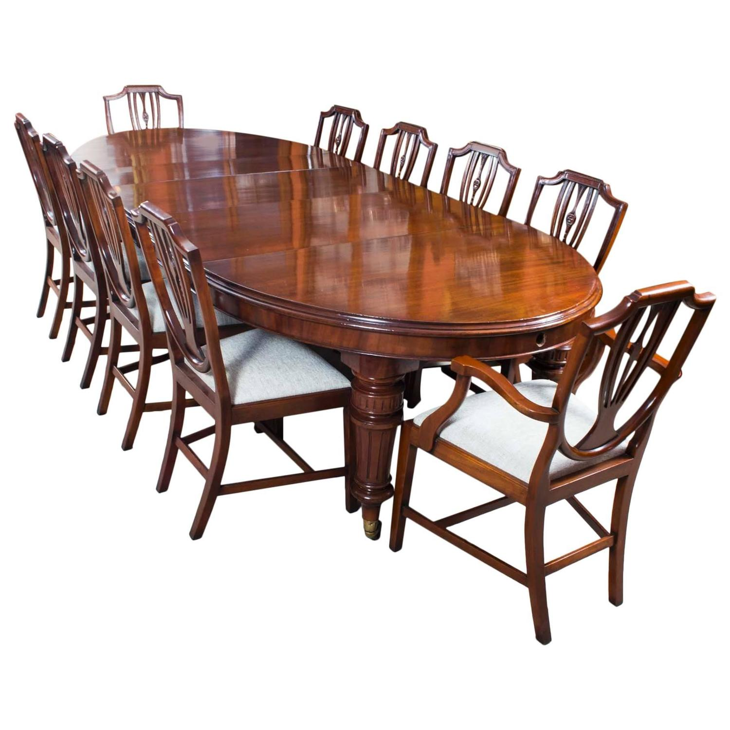 Dining Table Set For 10: Antique Extending Dining