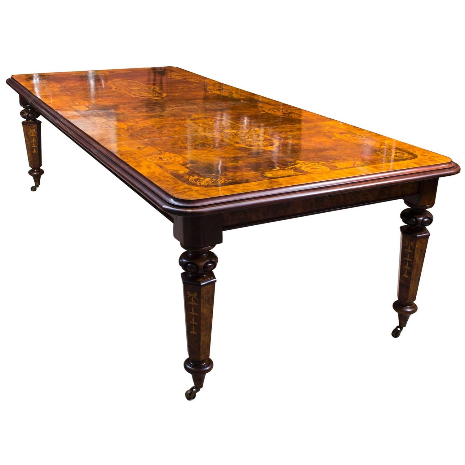Stunning 10ft burr walnut marquetry dining table for 10ft dining table