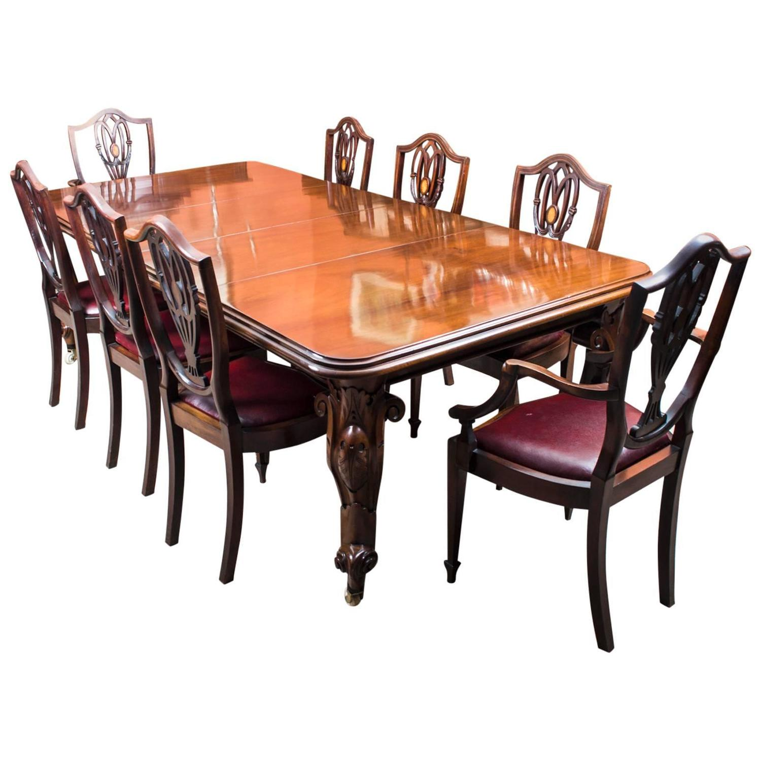 Antique Victorian Mahogany Dining Table 8 Chairs