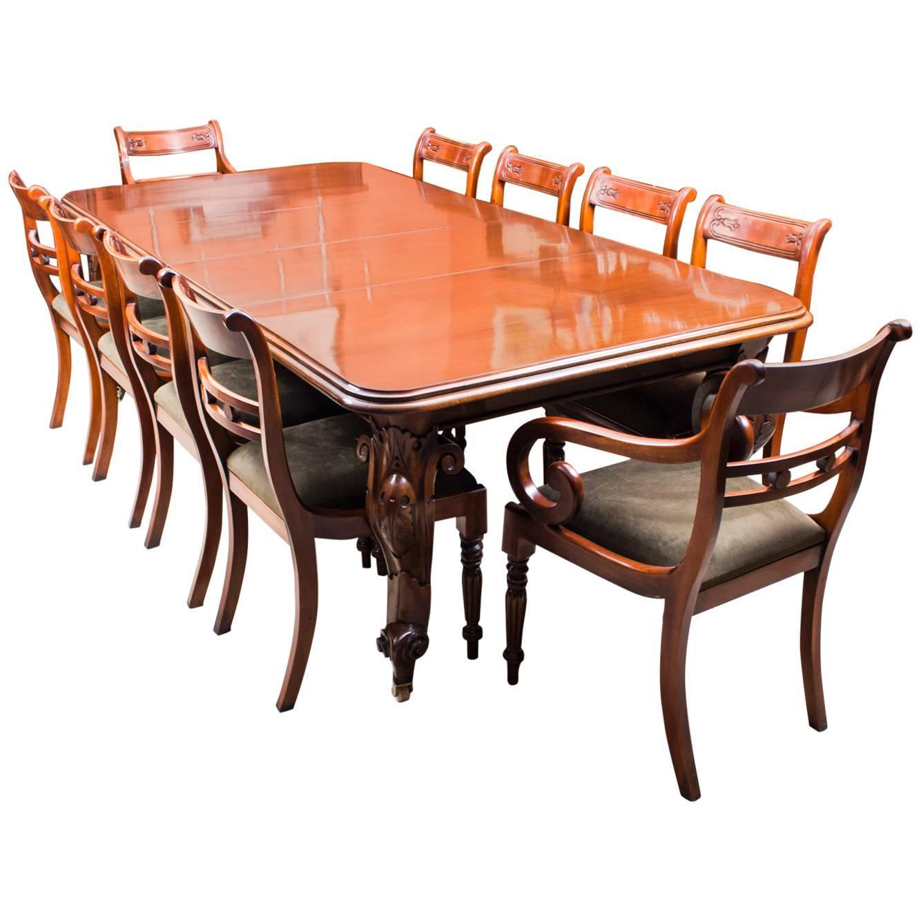 Dining Table Set For 10: Antique Victorian Dining