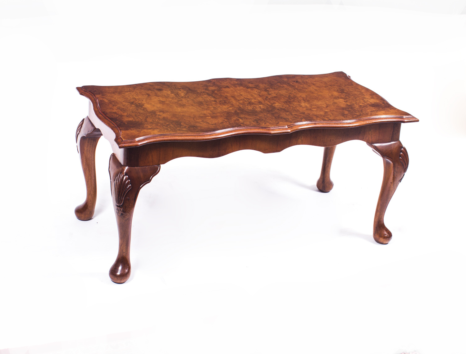 Vintage burr walnut queen anne style coffee table Vogue coffee table