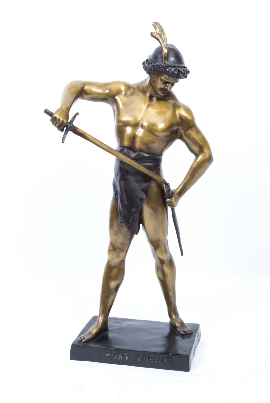 06794 Striking Bronze Roman Gladiator Statue Figure 2