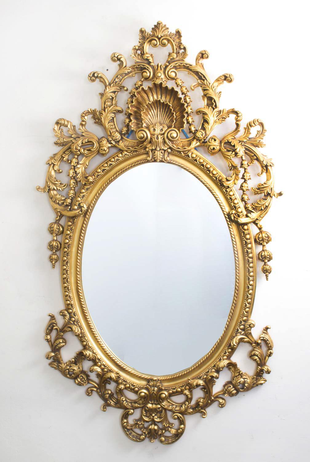 Italian rococo gilded oval mirror giltwood for Gilded baroque mirror
