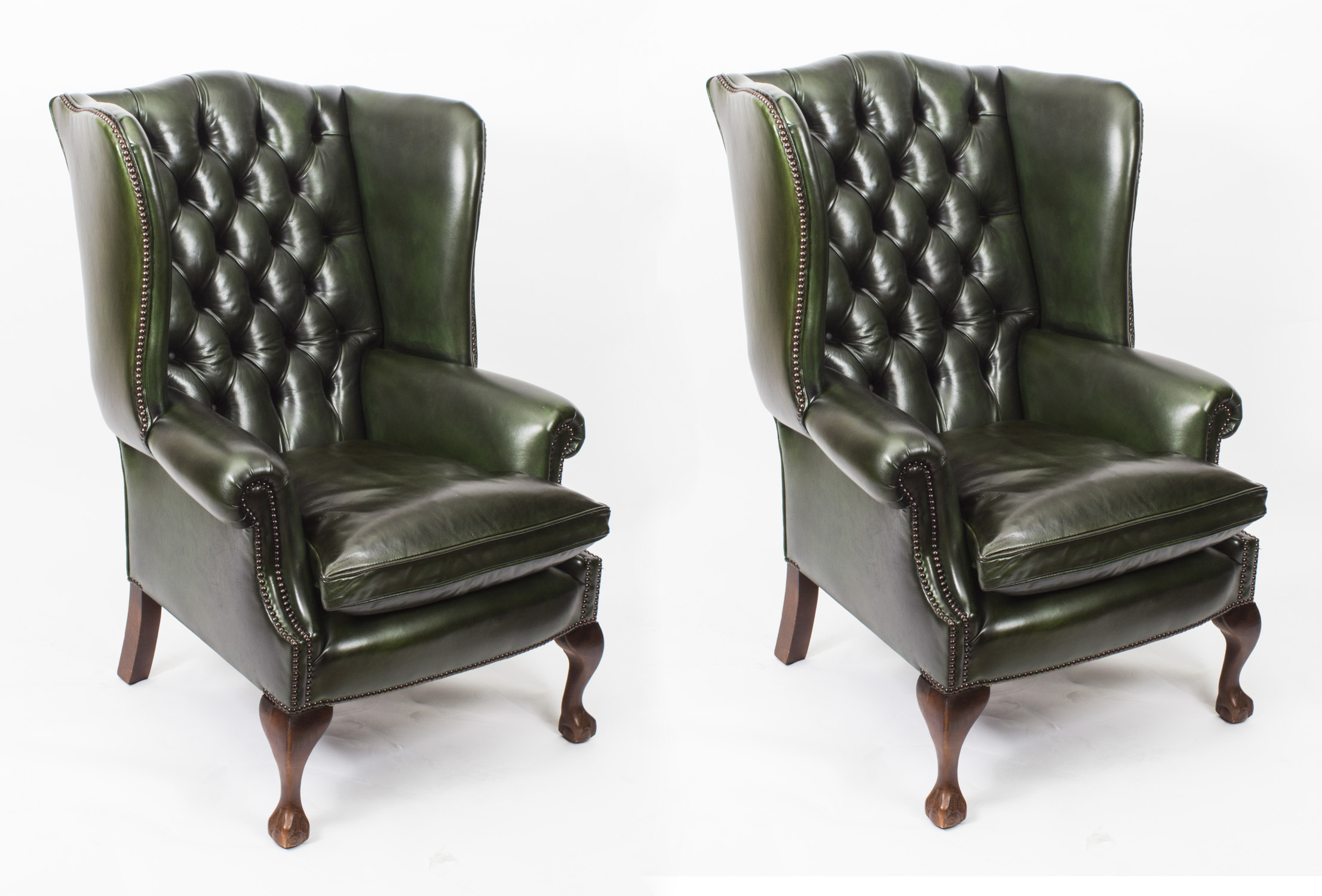 Pair Leather Chippendale Wingback Armchairs Emerald Green ...