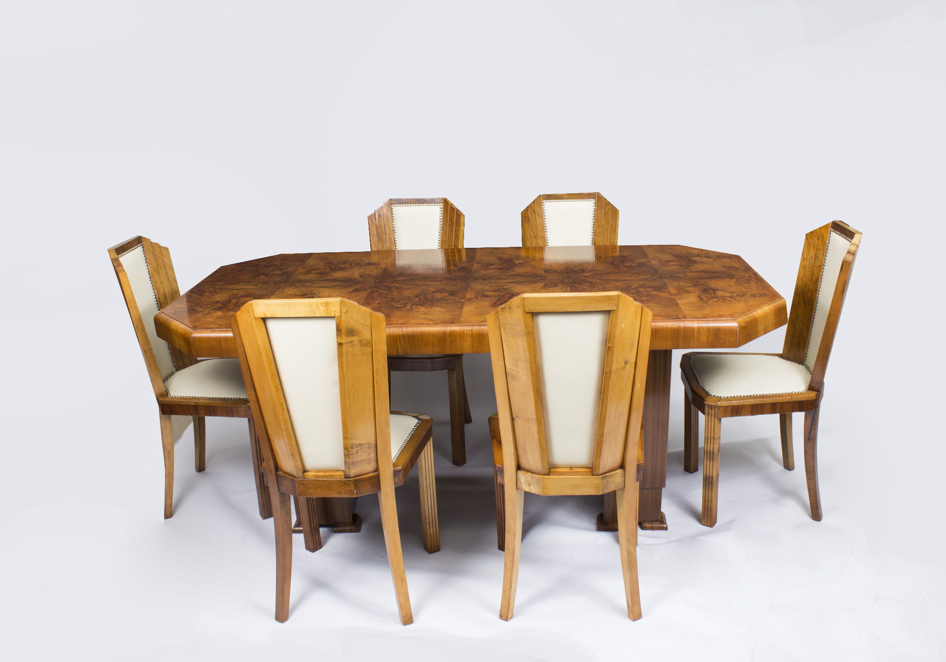 Antique art deco burr walnut dining table 6 chairs c1930 for Table de nuit art deco