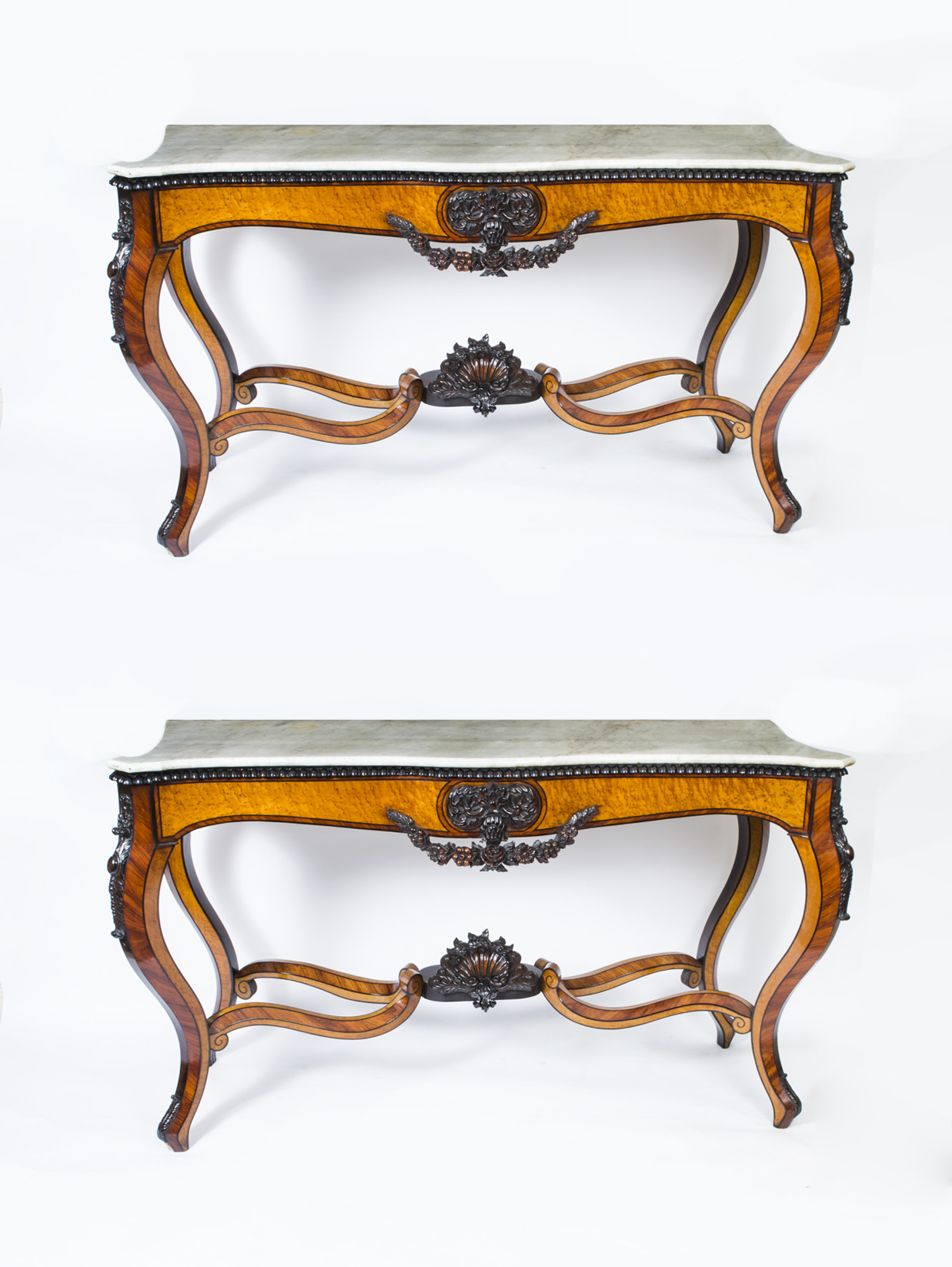 Antique pair 5ft6 sicilian marble top console tables c1820 for 5 foot console table