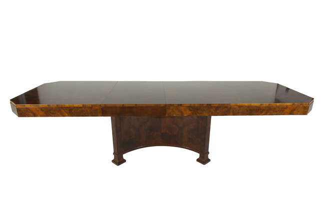 Antique art deco 10 ft burr walnut dining table c1930 for 10ft dining table