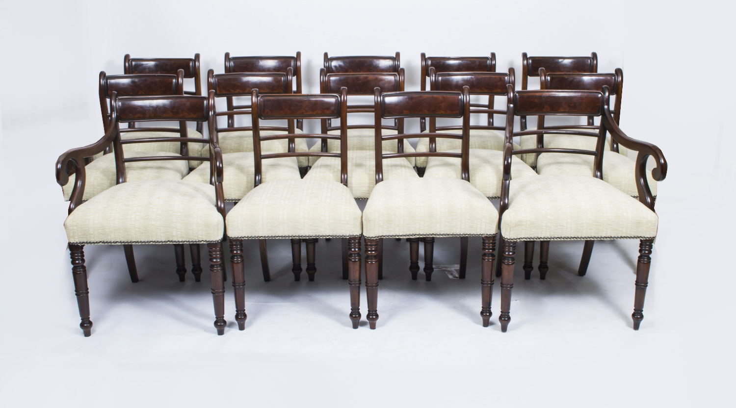 Antique overstuffed chairs - 06980 Antique Set Of 14 George Iii Mahogany Dining Chairs C1800 1