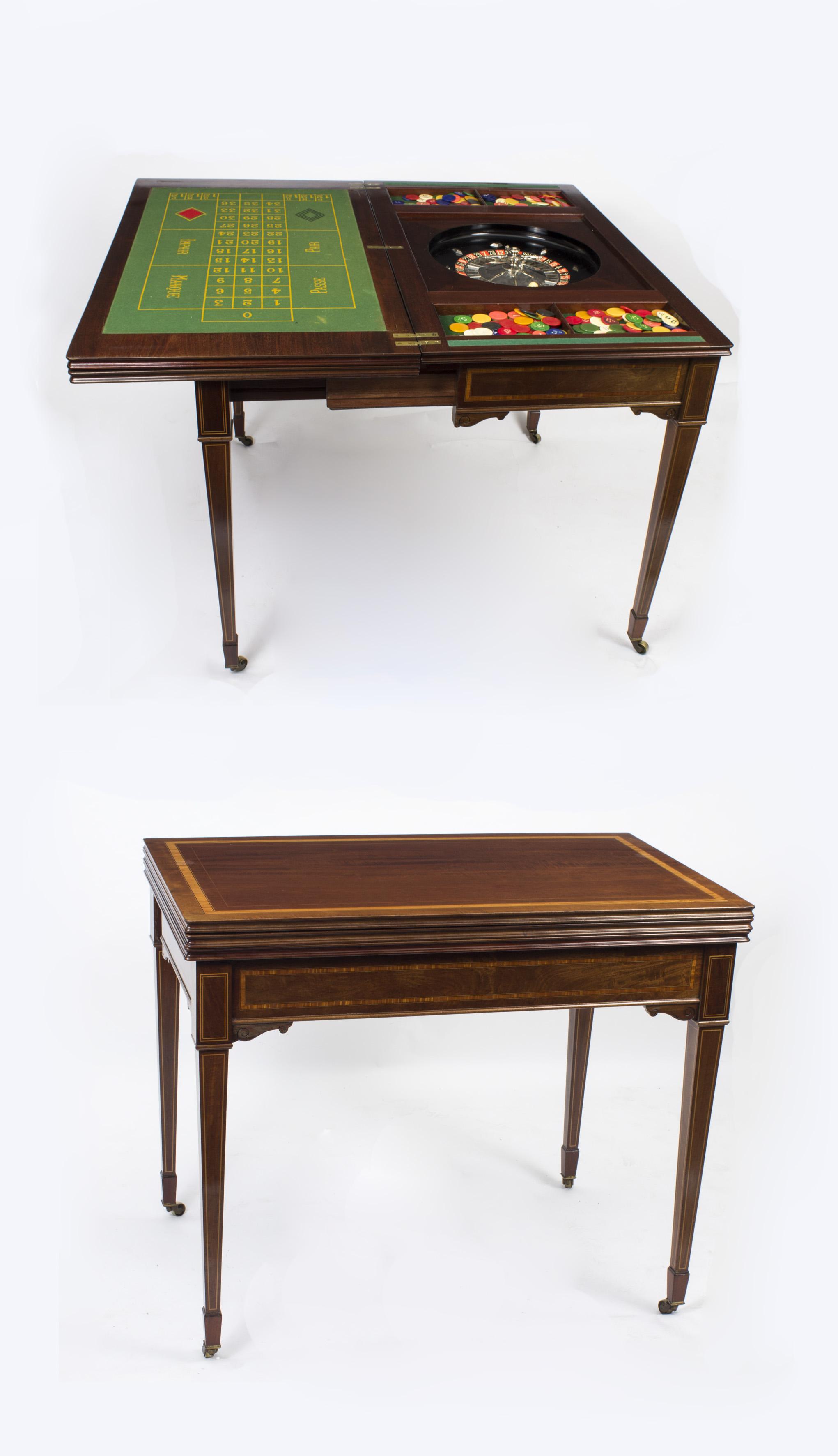 Antique Edwardian Mahogany Games Roulette Table c 1900
