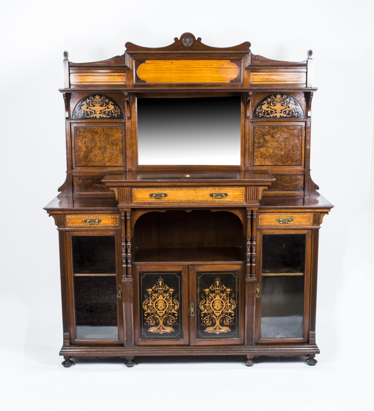 Antique edwardian inlaid cabinet by gillows for 1890 kitchen cabinets