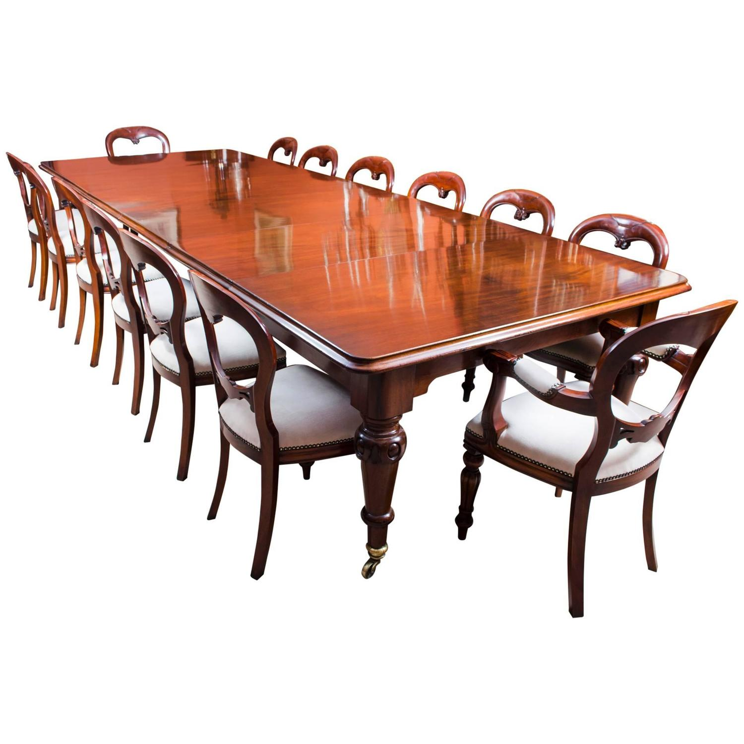 """Victorian Dining Table: Antique 13ft 6"""" Victorian Dining Table C1850 &14Chairs"""
