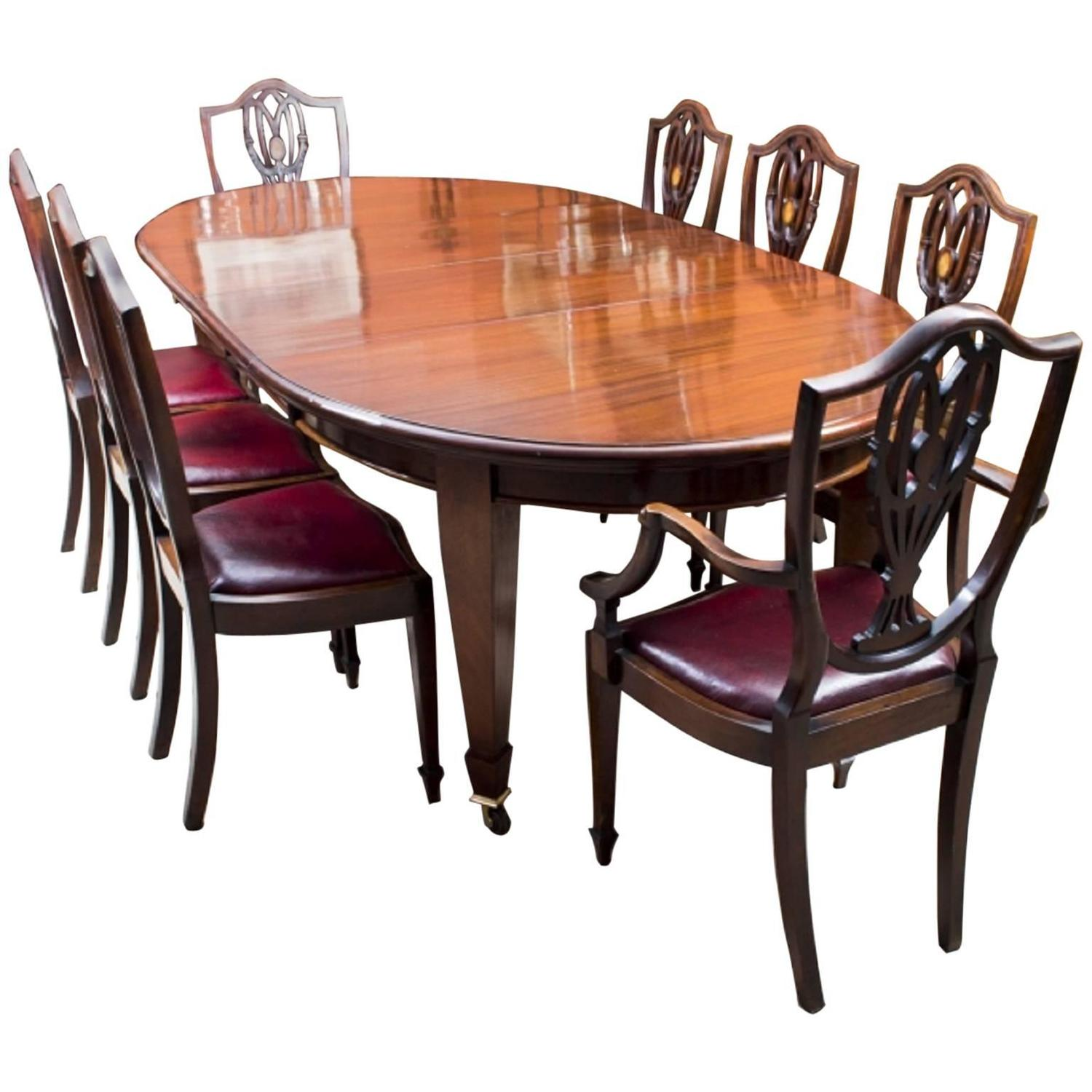 Antique 8ft edwardian dining table 8 chairs ref for 8 chair dining table