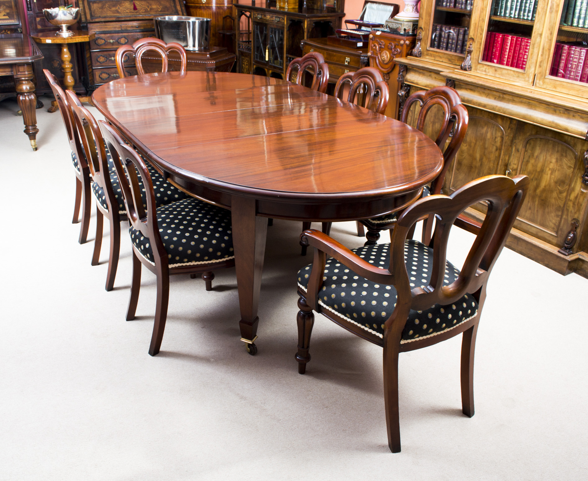 antique 8ft edwardian dining table 8 chairs ref no 07099b regent antiques. Black Bedroom Furniture Sets. Home Design Ideas