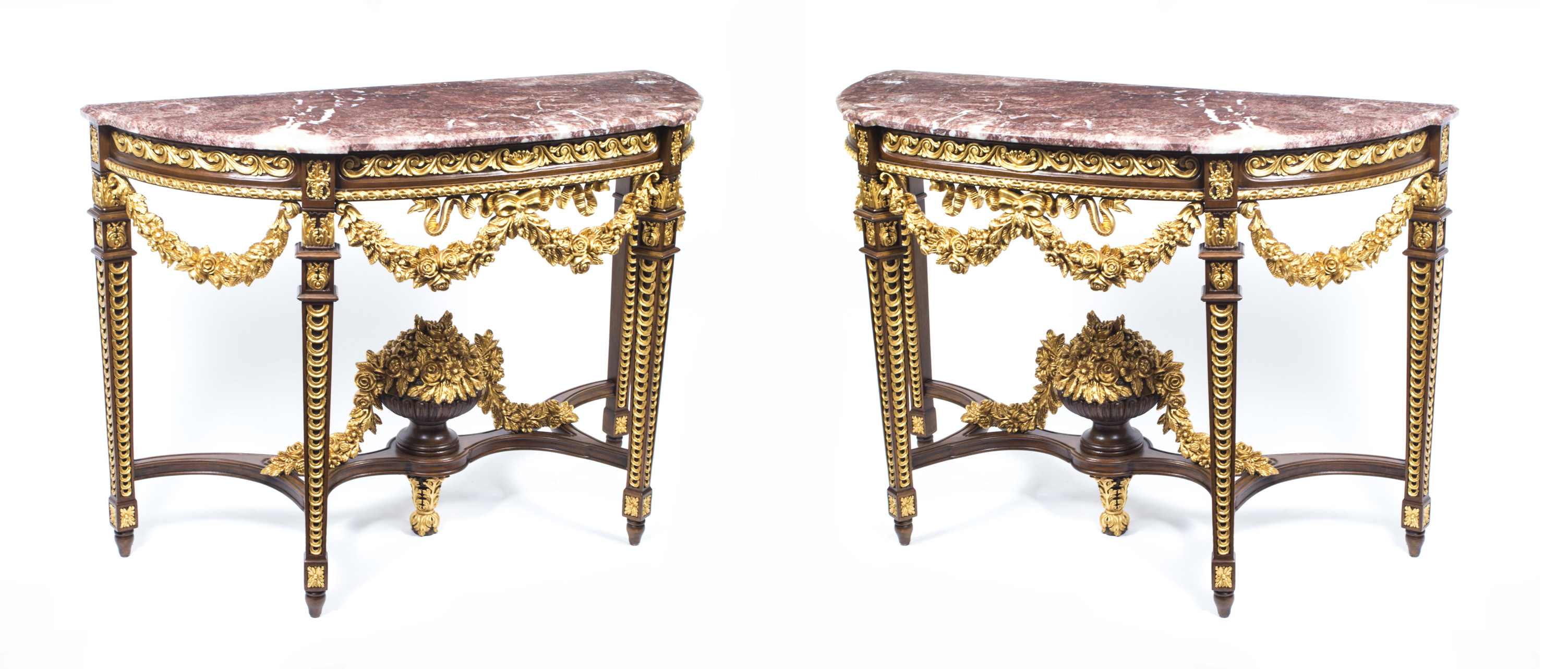 Pair Rococo Half Moon Marble Top Console Tables